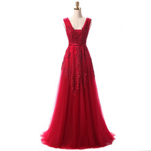BR002 Robe De Soiree Red/Coral/Royal Blue/Pink Lace Appliqued Beaded Sexy Long Bridesmaid Dress Elegant Formal Dresses