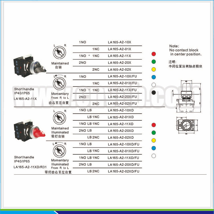 BB128 High Quality short-handle two-position contact block rotary button