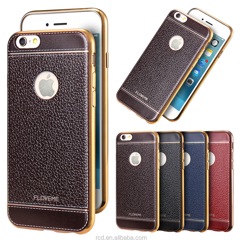 FLOVEME Leather Back Cover Soft Case Shell For <strong>Iphone</strong> 6S 7 7 Plus Bumper
