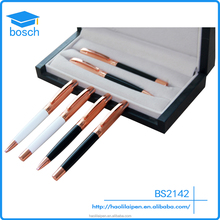 Novelty trading company rose gold cooper promotional roller ball pen office stationery gift set