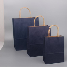 Glossy face mazarine color kraft paper bags sets with handle for shopping