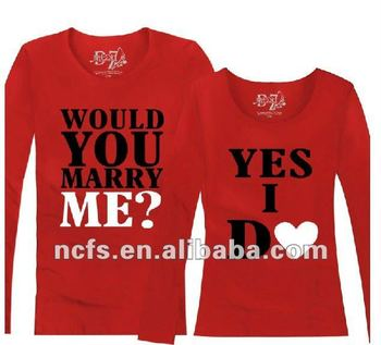 Rubber Printing Cute Couple T Shirt Designs With Various