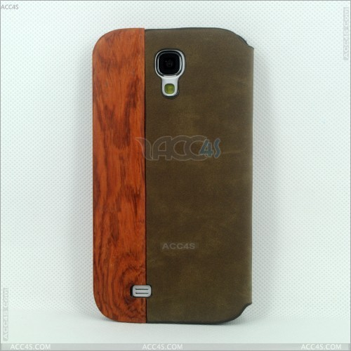 Promotion excellent Wood + PU Case Cover With Stand for SAMSUNG Galaxy S4/ i9500