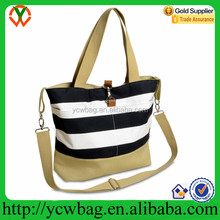 Fashion Black and White Stripe Cotton Canvas Shoulder Tote Diaper Bag Mommy Bag