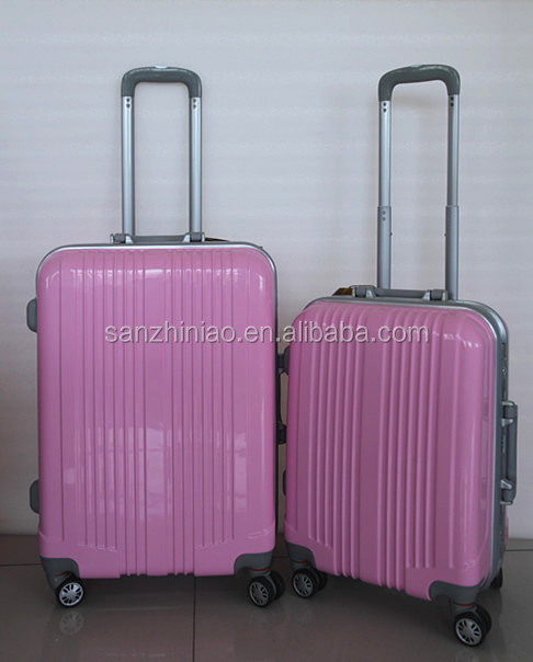 abs+pc material and carry-on type 20''24'' kids hard shell plastic cover luggage /fancy pink