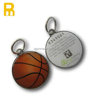 Custom qr code number basketball key chain sport key fobs
