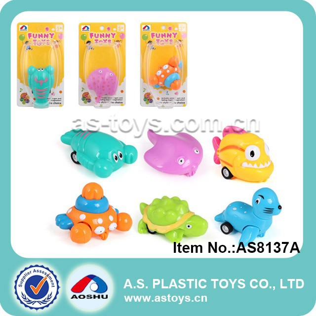6 Style octopus/sea lion/shrimp/turtle pull back sea animals toys for kid