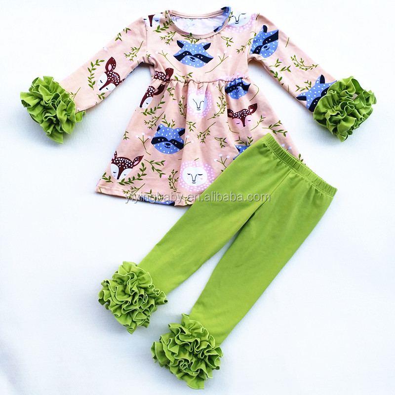 2017 Fall design foxes printed children clothing sets ruffle pants kids boutique clothing tunic sets for toddler girls