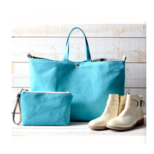 1DP0446 Promotional High Quality Travel Tote Sky Blue Canvas Handbag Trendy Diaper Bag With Makeup Pouch Bag For Mother