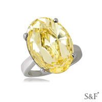 04267 AAAAA cubic zirconia stone white gold yellow stone ring