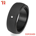 2017 wholesale stone for fashion jewelry rings IP black with 2mm diameter cz stone CNC setting