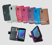 Factory price leather flip case for Nexus 4 E960 leather case