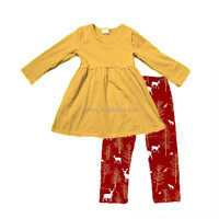 2017 Yawoo toddler Christmas outfit yellow dress and reindeer pants set wholesale baby girls clothes