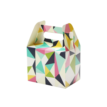Paper Party Gift Treat Box with Carry Handle Geometric Designs Treat Boxes