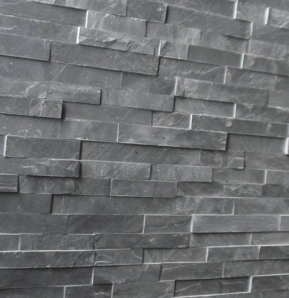 Natural Black Slate : Natural black slate tile cheap stone effect wall cladding