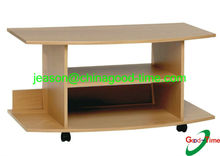KD design wooden small tv table with wheels