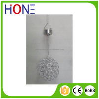 Solar Powered LED Garden White Light Up Hanging Crystal Ball Outdoor