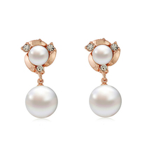 Elegant Alloy Silver Gold Plated Small Piercing Crystal Two Big Pearl Flower Long Earring For Women