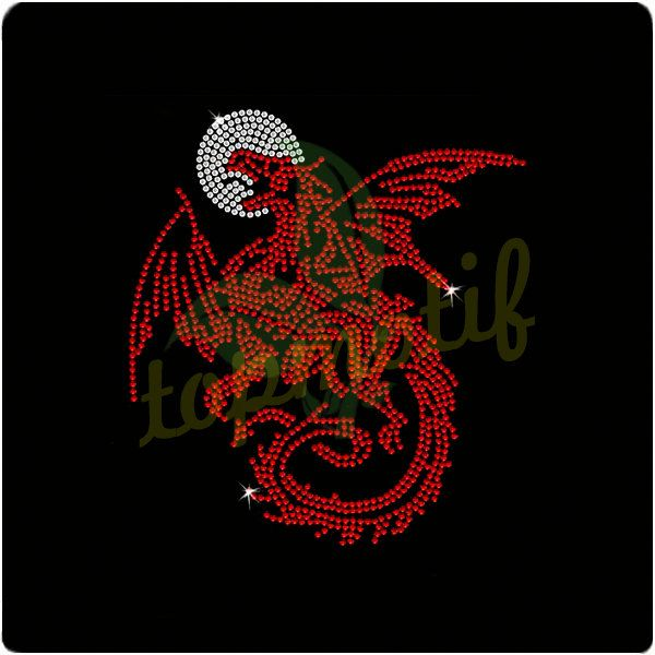 Unique Rhinestone Designs Dragon Hot Fix Transfer Iron On Motif For Clothing