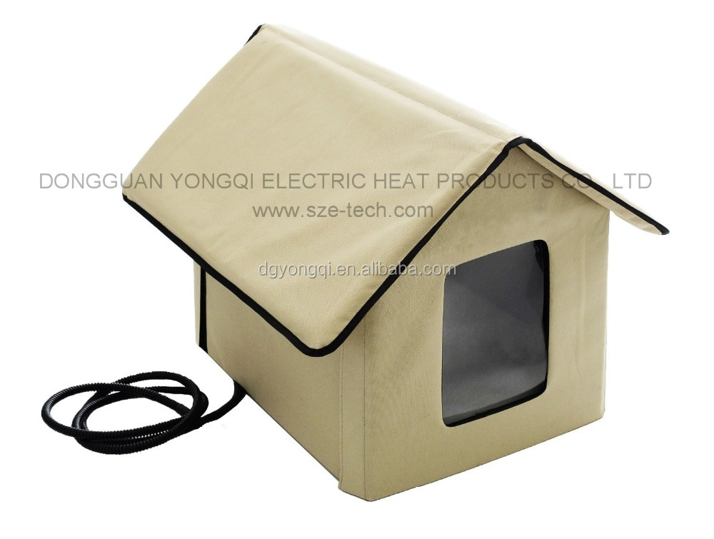 Durable nylon pet house with heating pad