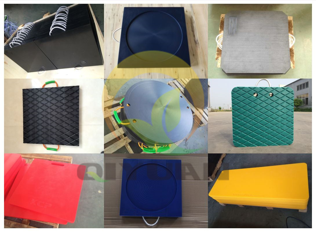 logo customized plastic outrigger pads crane jack support mats with handle