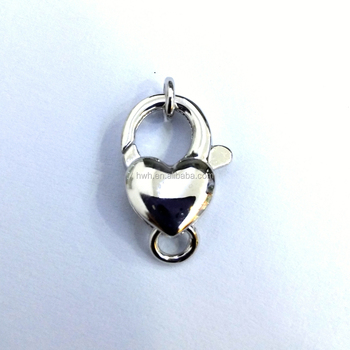 A0040 Shiny Silver Heart Shape Lobster Lock with Rhodium 12.2*7.4mm