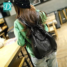 2016 New Arrival Soft Black Leather Shoulder Backpack For <strong>School</strong> Girls