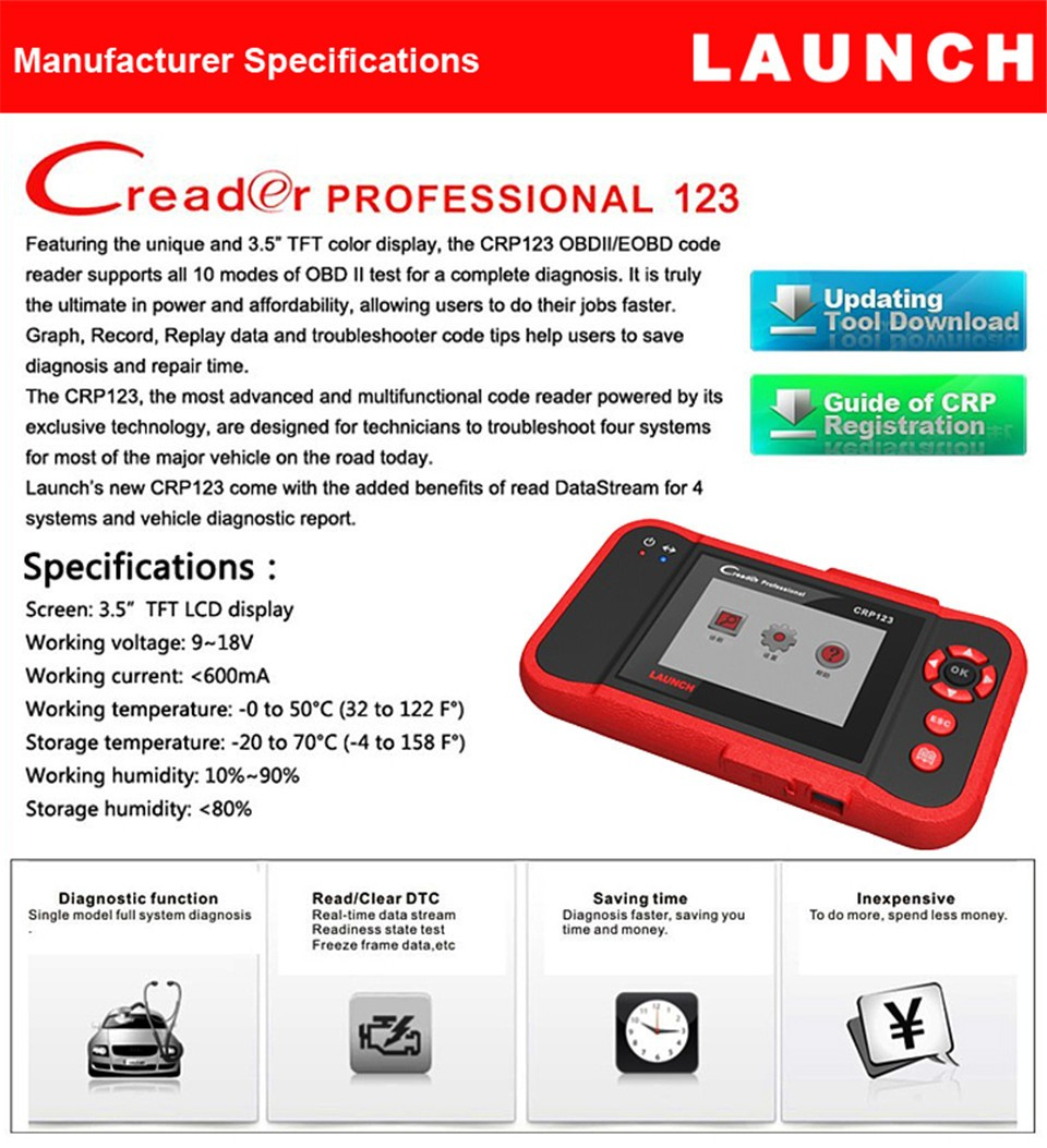 2017 New LAUNCH Creader CRP123 Code Scanner Creader CRP123/VII+ Support Multi Brand Diagnostic Tool Creader 7+