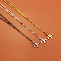 1pcs Fashion Gold Silver Aircraft Airplane Plane Pendant Necklace Chain Layered Necklace For Women Tiny Dainty Charms Jewelry