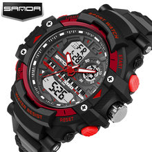 SANDA Watch Men Climbing Sports Wristwatches Big Dial Military Watches G Style Shocks Resistant Waterproof Watch