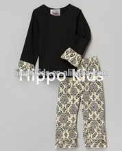 Wholesale black cream damask top and pants children clothing 2016 boutique girls outfits