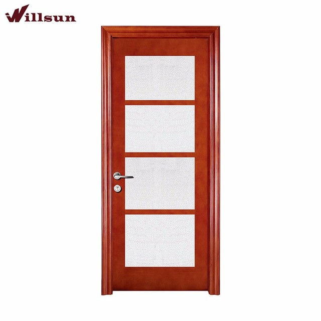 Cheap 4-lite internal doors solid wood composite insert tempered glass for sale