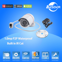 Wholesale Waterproof P2P Metal Outdoor / Indoor 720p Security CCTV IP Camera