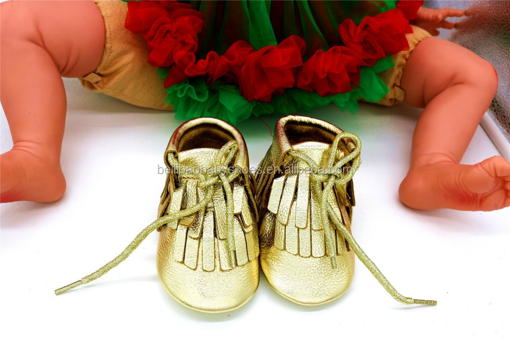 2017 Hotsale Gold leather Baby fringe boots boysgirls baby booties in spring