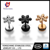 Black/silver/gold snow 316L stainless steel casting stud earring for body jewelry for wholesale