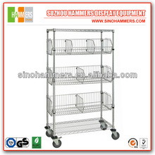 Rolling Chrome Wire shelving with fencing