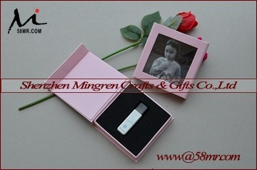 USB Gift Storage Box Linen Leather Paper with Photo Frame