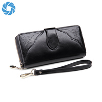 2017 Newest Hot Selling High Quality Genuine Leather Black Women's Wallet