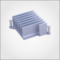 Aluminium extrusion heatsink with plastic staple for VAG
