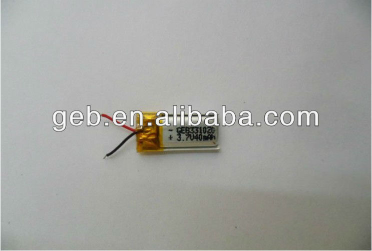 smallest lithium polymer battery 3.7V 40mAh for bluetooth earphone small lipo battery