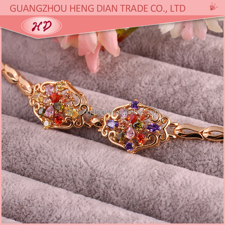 Wholesale new fashion design jewelry,18K gold plated CZ bracelet jewelry for bangkok womens