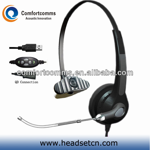 Good quality call center headphone Voice Tube with volume usb controller headset for computer HSM-900TPQDUSBC