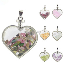 Jofo Brand Silver Plated Floating Pendant <strong>Charms</strong> Rose Quartz Amethyst Natural Stone Glass Heart Locket
