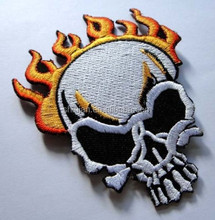SKULL BURN ON FIRE MOTORCYCLE BIKER Embroidered Iron on Patch