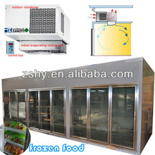 glass door display cold room for supermarket with monoblock compressor