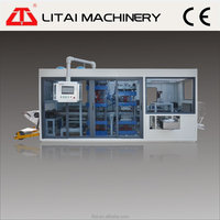 Three-stations plastic products thermoforming machine suitable for many different kinds of products with form-cut-stack
