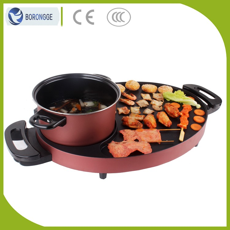 KW-501 Hot Sale Smokeless Temperature Controlled Efficiency Combined Korean Mini Tabletop Electric Bbq Grill With Hot Pot
