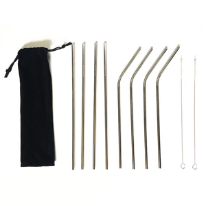 Eco friendly 8pcs metal straw set with pouch, stainless steel drinking straw
