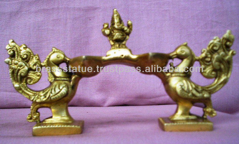 Brass oil Lamp Deepak Antiqe Peacock Shape & Figure Shape God Worship pooja accessories