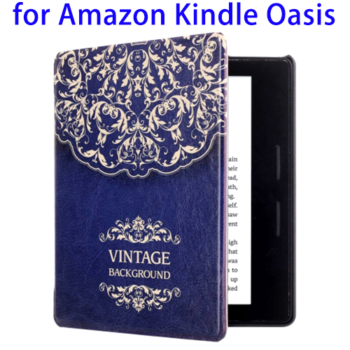 China Supplier Creative Pattern Leather Case for Amazon Kindle Oasis, Back Cover for Amazon Kindle Oasis